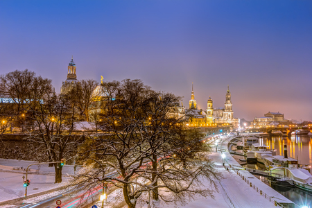 Dresden historic skyline in the old town in winter