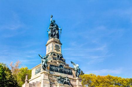 Niederwald monument represents the union of all Germans - located in the Niederwald landscape park, near Rudesheim am Rhein in Hesse, Germany