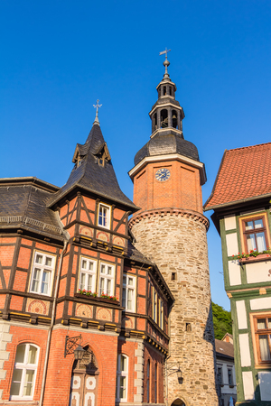 half timbered house: Stolberg in the Harz mountains in Germany Stock Photo