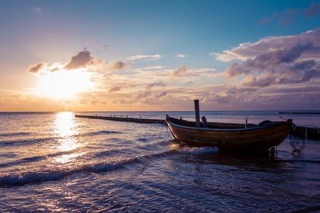 groynes: Coastline with a special dreamy mood on the beach Stock Photo