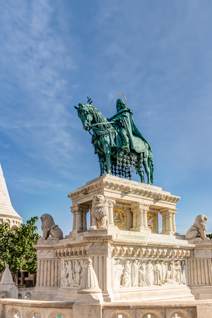 Equestrian statue at Fishermans Bastion in Budapest