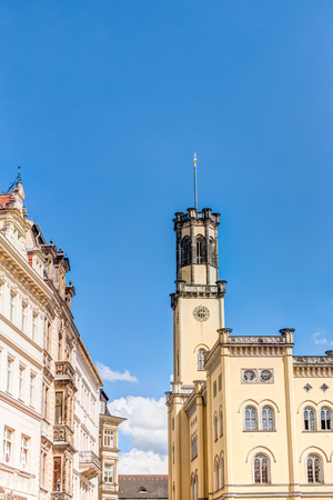 Town hall at old market square of Zittau in Saxony, Germany