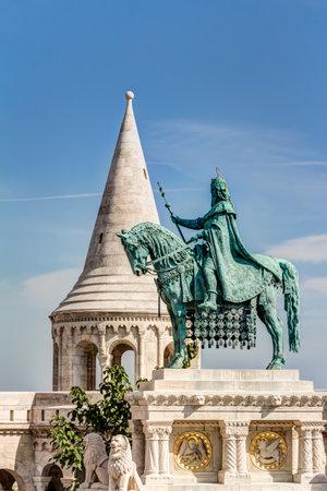 Equestrian statue at Fishermans Bastion in Budepest Redakční