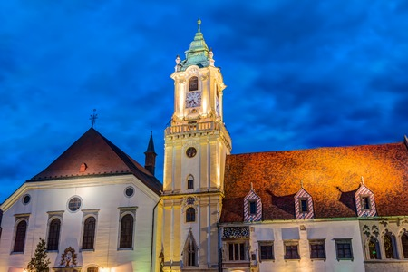 Old Town Hall tower at night in the city center of Bratislava, Slovakia