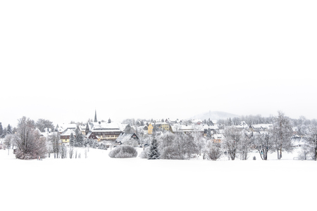 Landscape of snowy mountains in the highlands near Altenberg, Saxony in Germany