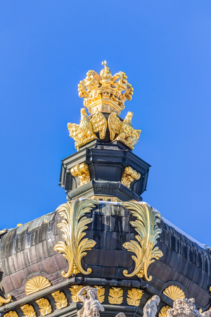 Golden crown of the Zwinger in the old town of Dresden