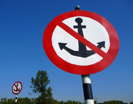 inhibitory: Two big signs no anchor Stock Photo