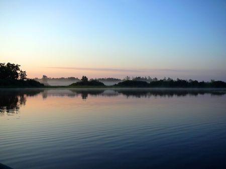 morning lake landscape before sunrise photo