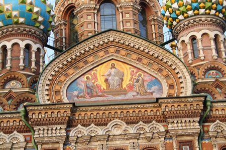 fresco: fresco on church wall in St. Petersburg, Russia Stock Photo