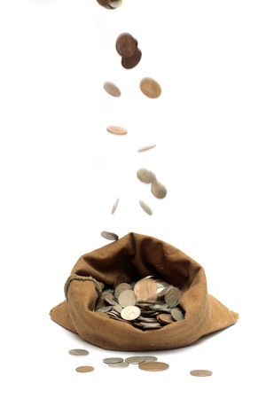 Bag of gold coins: flying money coins, falling in bag