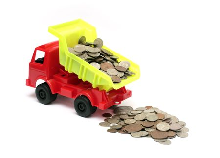 payload: toy lorry with coins - business concept Stock Photo