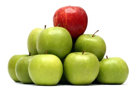 지배 개념 - 녹색 사과 사이 빨간 사과