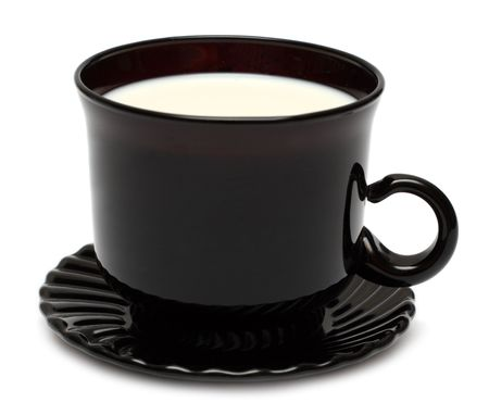 contrasts: contrasts - dark glass cup with white milk