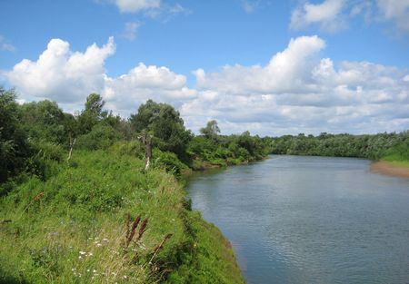 russian summer landscape with river photo