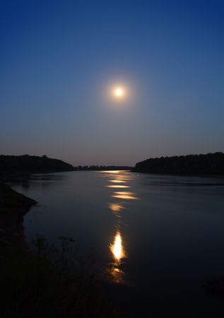 night moon and moonbeam in river Stock Photo - 3358900
