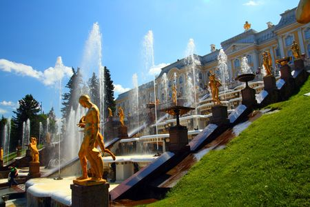tourism in russia: famous petergof park with fountains in Saint Petersburg Russia