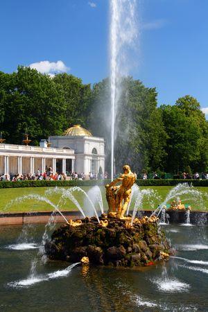 Samson fountain in petergof park Saint Petersburg Russia photo