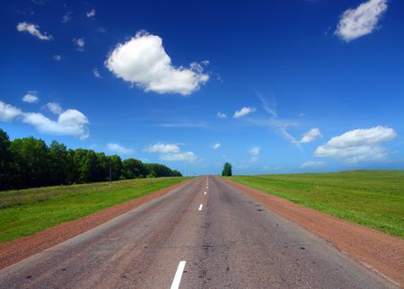 infinity road under blue sky Stock Photo - 3369511