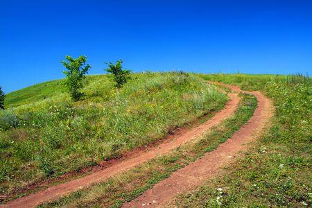 rurale strada in salita su campo verde