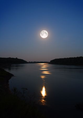night moon and moonbeam in river Stock Photo - 3369494