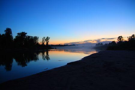 river landscape in dusk after sunset Stock Photo - 3402065
