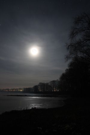 night landscape with moon over lake photo