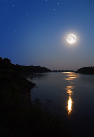 night moon and moonbeam in river photo
