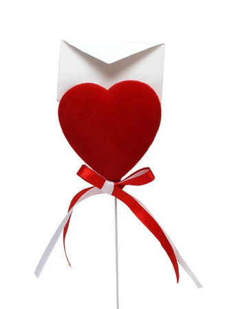 love letter to valentine day isolated on white photo