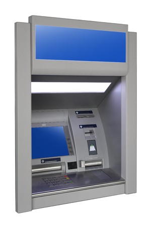 dispense: wall cash dispense isoalted on white