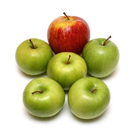 man form of apple fruits on white background photo