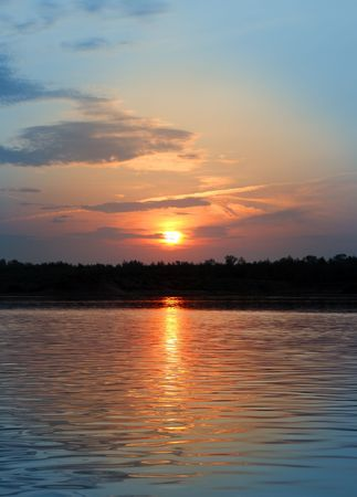 river landscape in dusk with sunset Stock Photo - 4718602