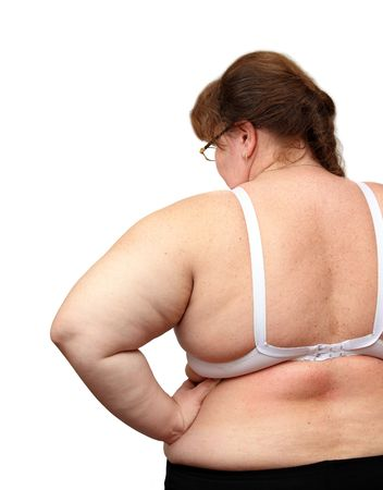 abstinence: women with overweight from behind isolated on white