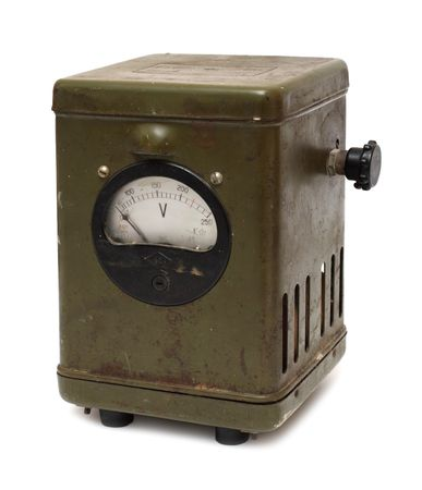 old obsolete dirty electric voltmeter device isolated on white photo