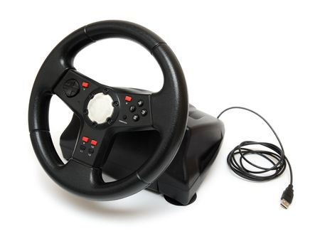 steering wheel simulator for pc games isolated on white Stock Photo - 4802618