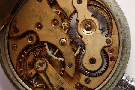 antiquity: old pocket watch rusty gear inside