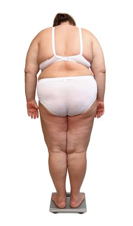 women with overweight in underwear from behind on scales photo