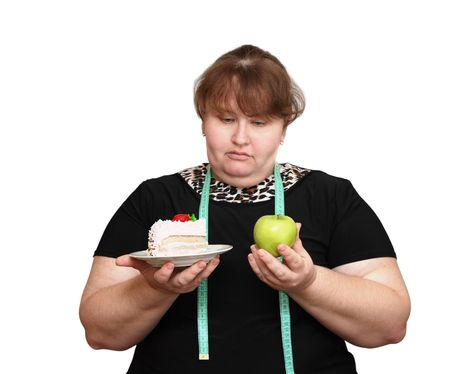 dieting overweight women choice isolated on white Stock Photo - 4951981