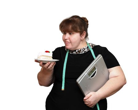 dieting overweight women with cake isolated on white photo