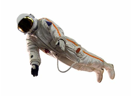 protective suit: old russian astronaut suit isolated on white