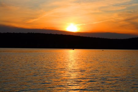 lake landscape in with red sunset Stock Photo - 5015006