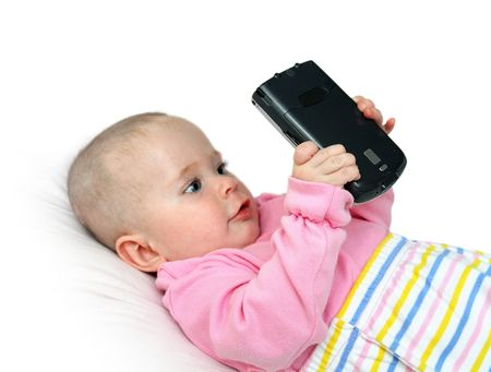 pocket pc: modern children -  baby with pocket pc Stock Photo
