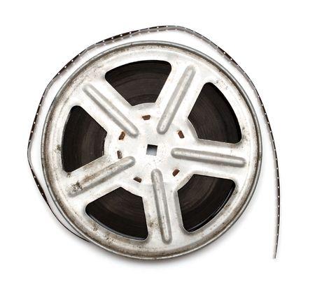 spool: old movie film on metal reel isolated on white Stock Photo