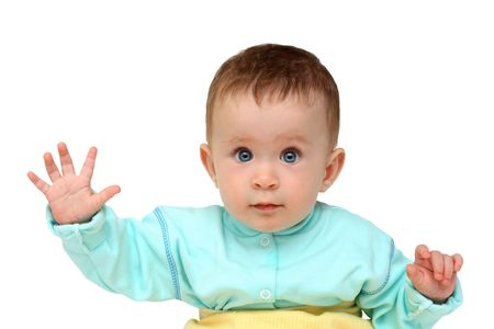 baby with hand up - stop gesture isolated on white photo