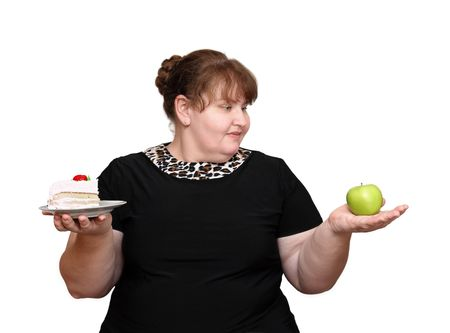 dieting overweight women choice isolated on white