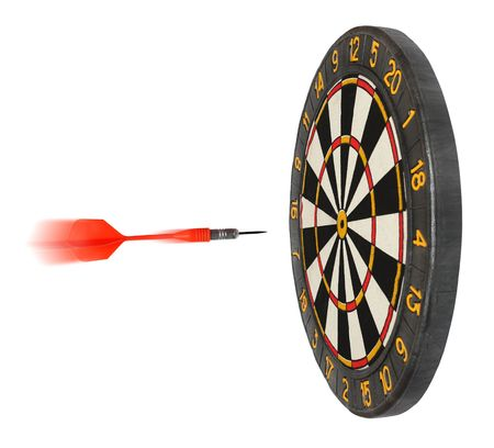 darts flying: dartboard with dart flying in aim isolated on white Stock Photo