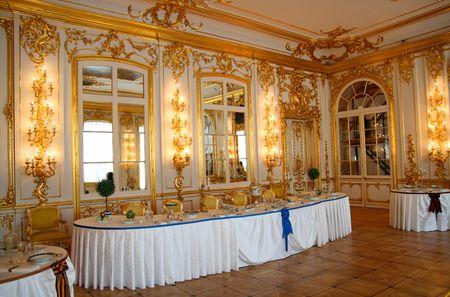 mesa para banquetes: tabla de banquete en el Palacio de Pushkin de sala comedor Rusia Foto de archivo