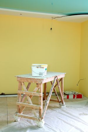 refinish: home interior renovation with trestle and paint