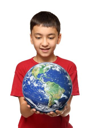 human rights: asian boy holding earth palnet isolated on white