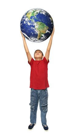 asian boy holding earth planet isolated on white photo