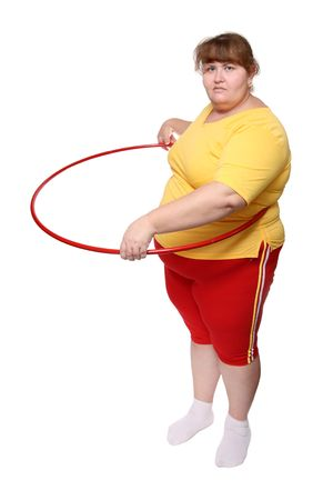 overweight woman exercising with hoop isolated on white photo